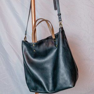 Faux Leather Slouchy Black Crossbody